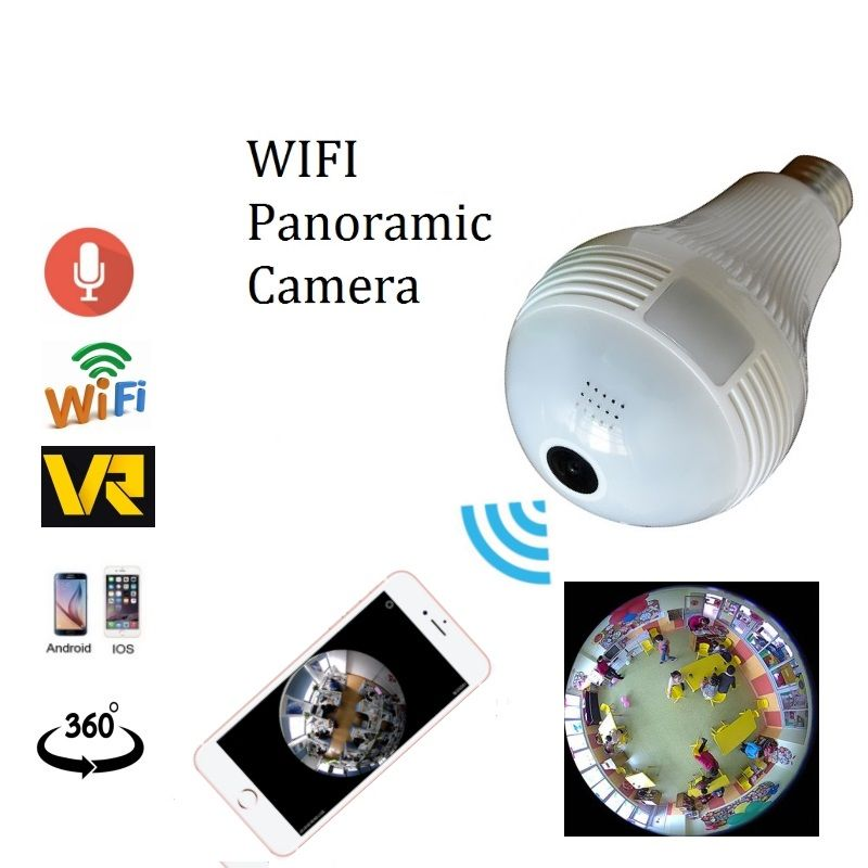 1.3mp 2.0mp Wi-Fi панорамный 360 градусов Камера Беспроводной лампочки Fisheye Камера CCTV Умный дом 3D VR безопасности лампы Wi-Fi Камера