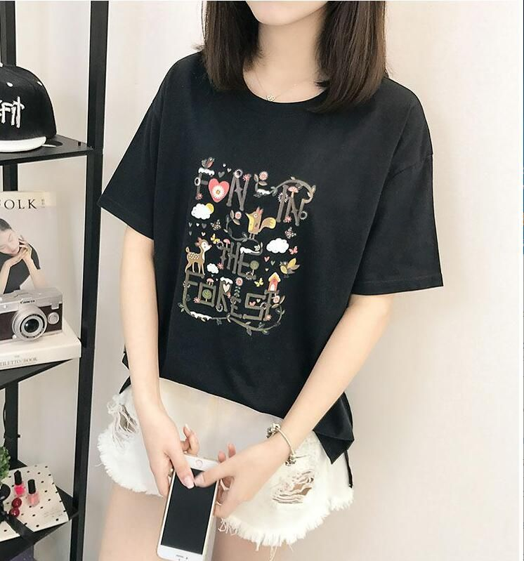 High Quality Cotton Basic Loose T-shirt Women Casual O-neck T Shirt Female T Shirt For Women 3D Short Sleeve Female