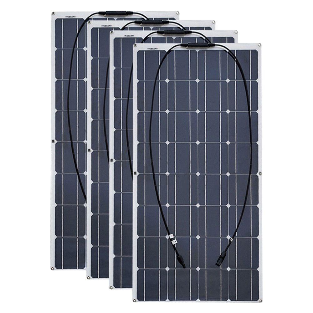 4 stücke 6 stücke 8 stücke 10 stücke Flexible solar Panel 100 W Monokristalline Zelle 12 v 24 Volt 100 watt placa portatil power 400 watt 600 watt 800 watt