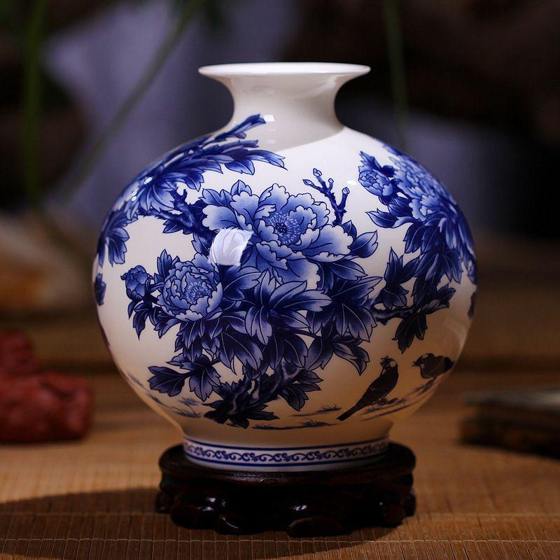Haute qualité Jingdezhen bleu et blanc porcelaine Vases Fine os chine Vase pivoine décoré de haute qualité en céramique Vase