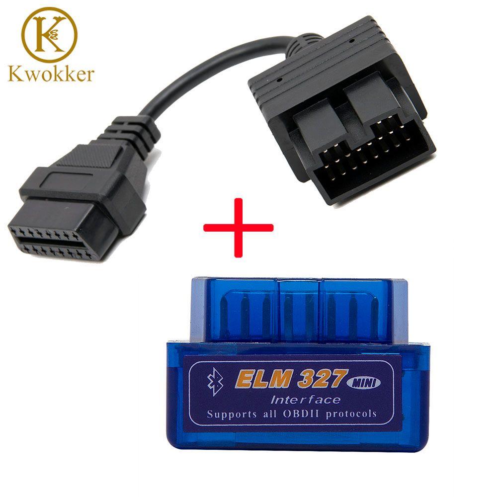 Super Mini ELM327 Bluetooth + OBD2 connecteur câble pour Kia 20 broches voiture Scanner outil de Diagnostic orme 327 pour Android couple fenêtres