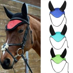 Horse Riding Breathable Meshed Horse Ear Cover Equestrian Horse Equipment Paardensport Fly Mask Bonnet net ear maks protector S