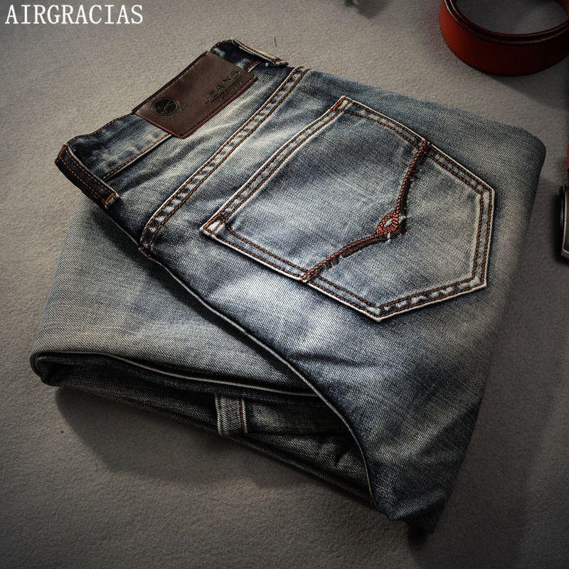 AIRGRACIAS Brand Jeans Retro Nostalgia Straight Denim Jeans Men Plus Size 28-40 Casual Men Long Pants Trousers Brand Biker Jean