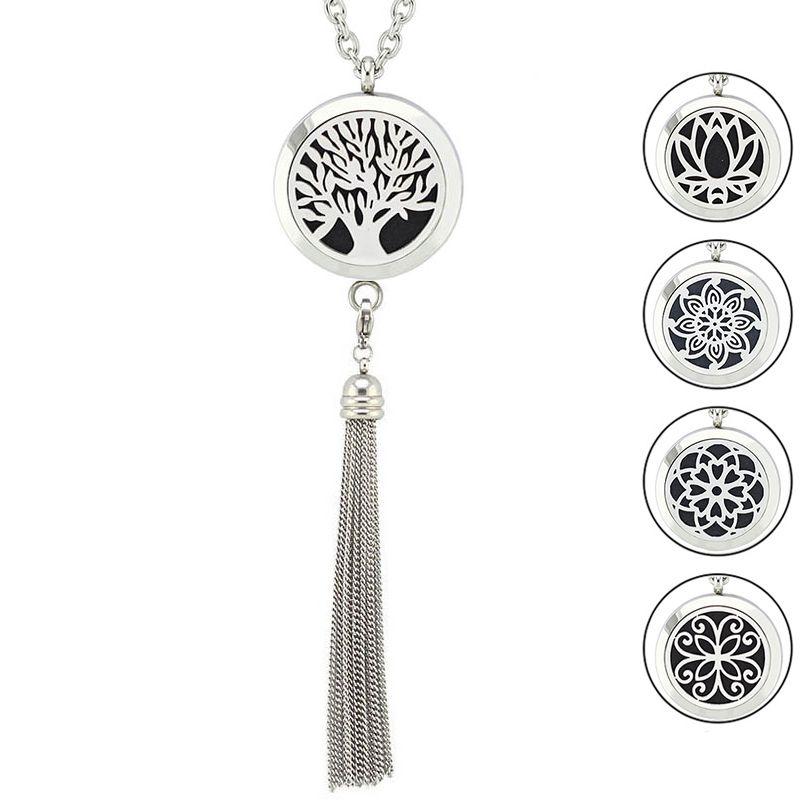30mm en acier inoxydable aimant aromathérapie liable médaillon diffuseur pendentif collier bijoux avec le gland (livraison patins en feutre et chaîne)