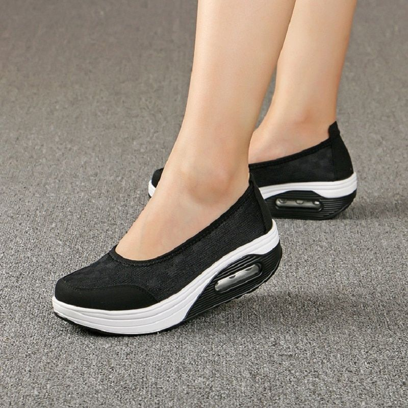 Новый Повседневное Для женщин Спортивная обувь из сетчатого материала Туфли без каблуков обувь на платформе без шнуровки Удобная дышащая ж...