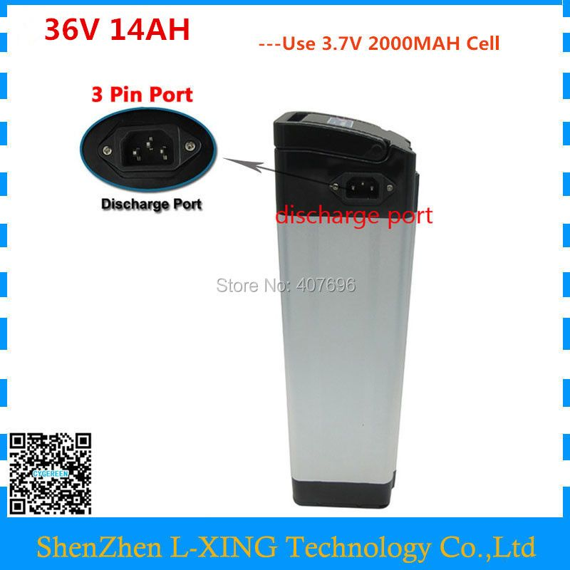 36V 14AH 500W Bicycle Battery 36 V silver fish battery With 42V 2A Charger 36V Electric Bike Battery top discharge free tax