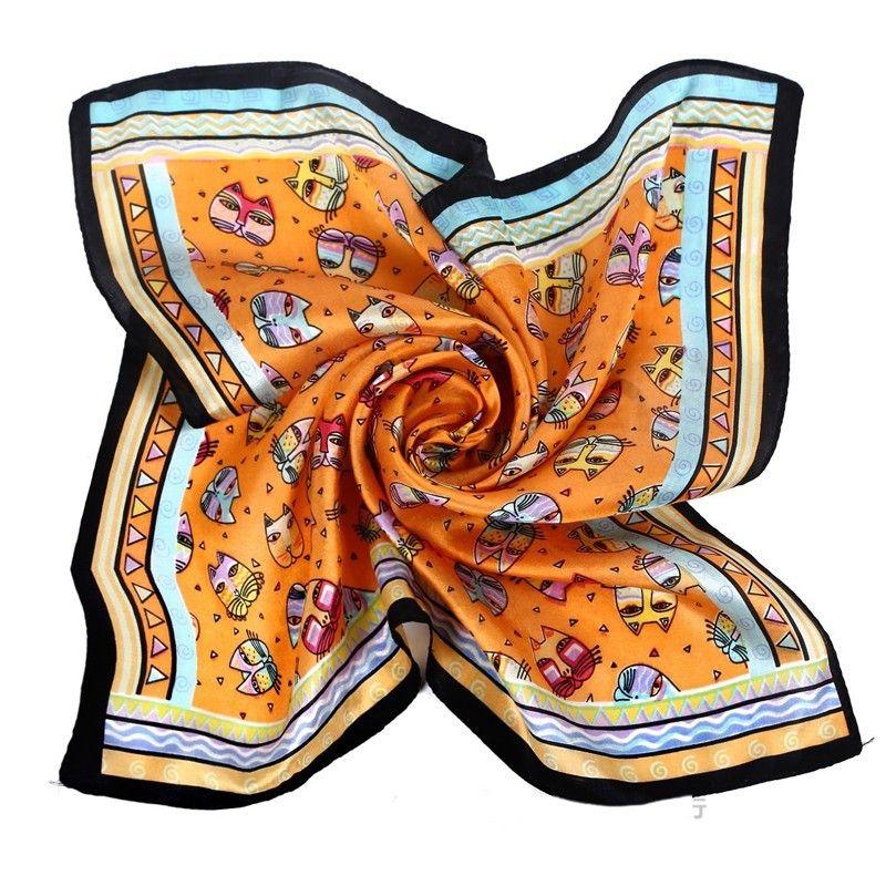 2018 platz Silk Animal Print Schal für Frauen Mode Fisch Katze Bandana Halstuch Fleck Orange Damen Neck Schals 53*53 cm
