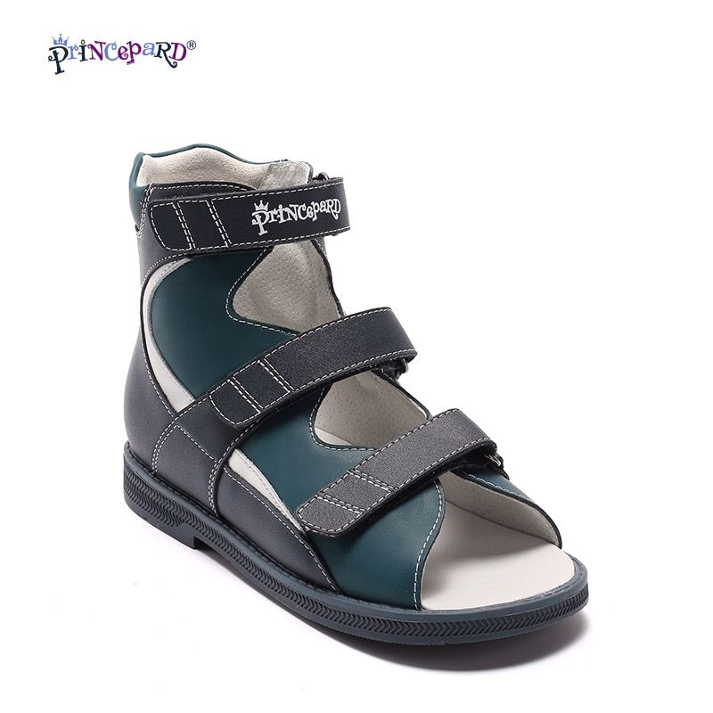 Princepard Genuine Leather Boys Orthopedic Shoes summer navy Children Sandals Kid Baby Sandals baby kids boys shoes Size 21-36