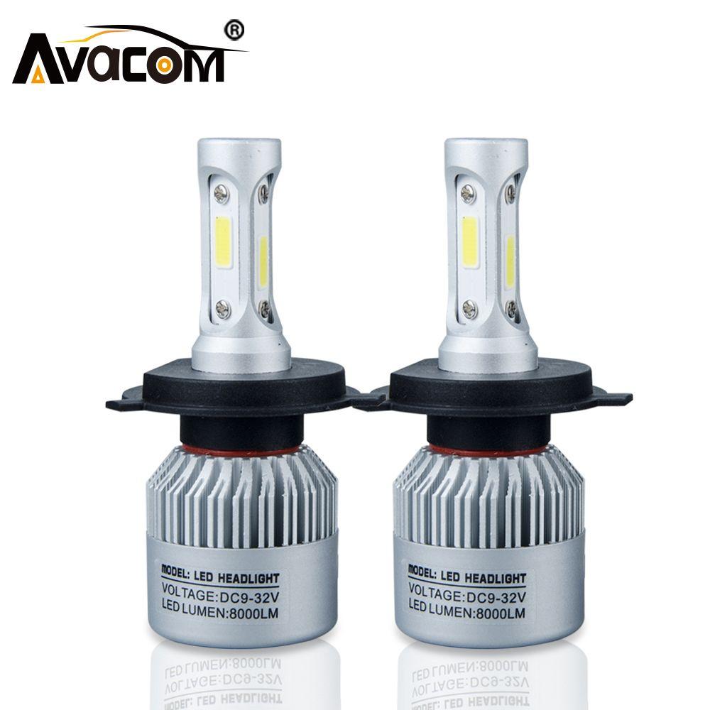 H4 H7 S2 LED Car Headlight Bulb COB H11 H1 H13 H3 9004 9005 9006 9007 9012 Hi-Lo Beam 72W 8000LM 6500K IP65 Auto Headlamp kit