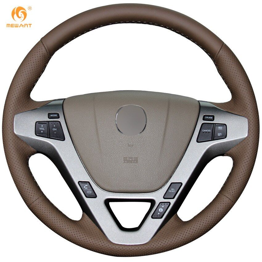 MEWANT Dark Brown Genuine Leather Car Steering Wheel Cover for Acura MDX 2009-2012