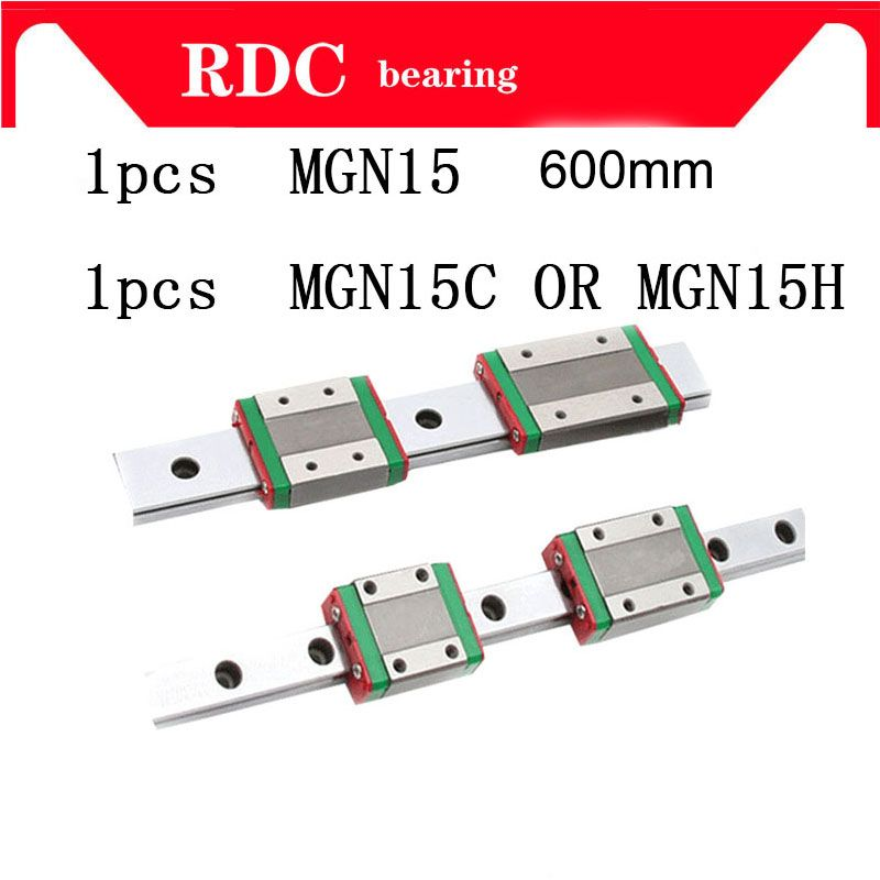 1pcs 15mm Linear Guide MGN15 L= 600mm High quality linear rail way + MGN15C or MGN15H Long linear carriage for CNC XYZ Axis