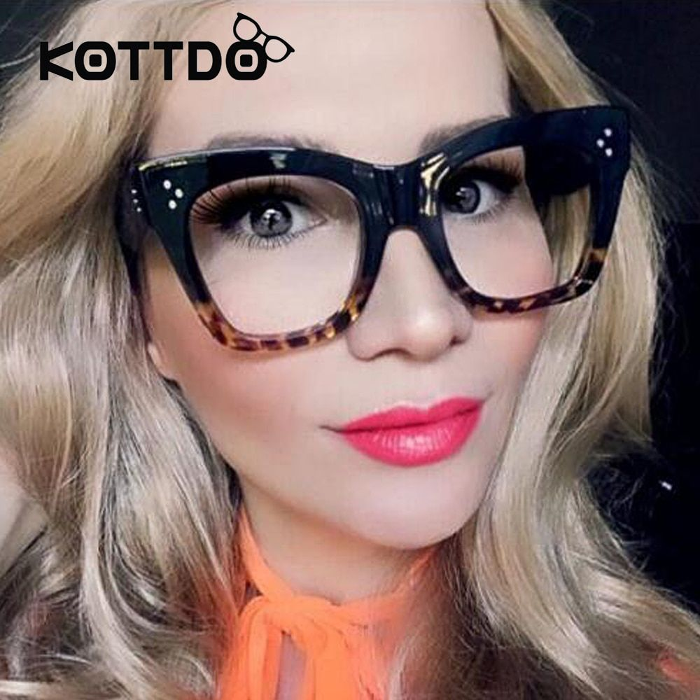 2017 Fashion Vintage Eyeglasses Women Brand Designer Square Eye Glasses Women Glasses Big Frame Eyeglasses Shades lunette femme