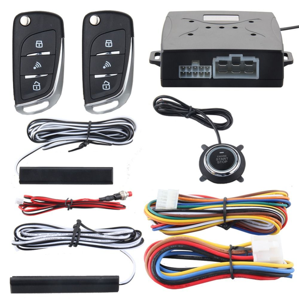 EASYGUARD Car security alarm system with PKE passive keyless entry remote lock remote engine start stop keyless go system DC12V