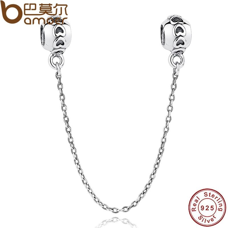 BAMOER 925 Sterling Silver Love Connection Safety Chain Charm Fit Bracelet Heart Shaped Sterling Silver Jewelry PAS032