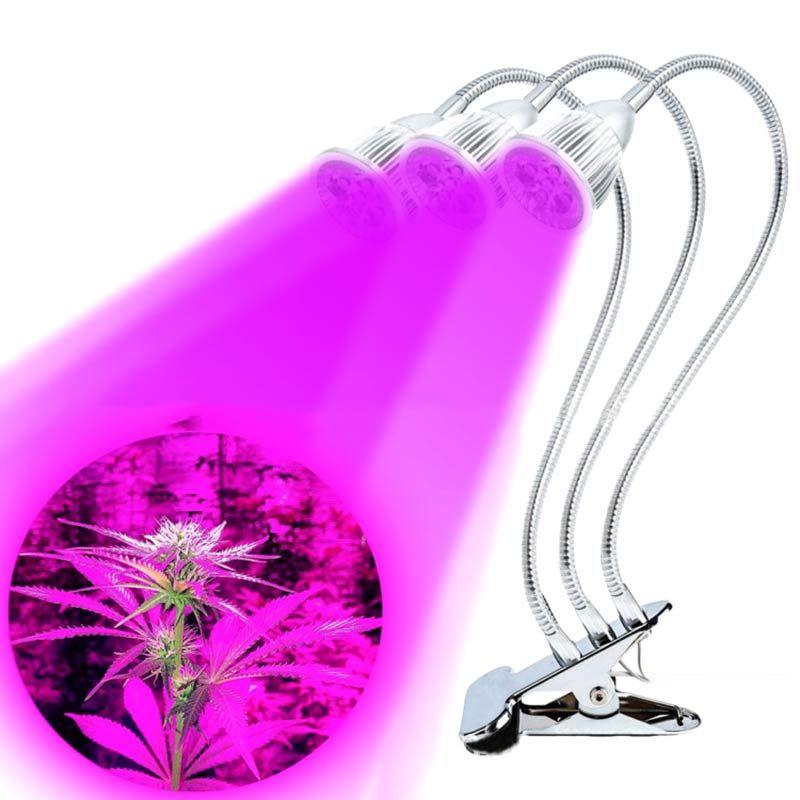 3 cabezas llevado crece la luz con clip flexible planta vegetal creciendo lámpara para oficina invernadero hidroponía CLH @ 8