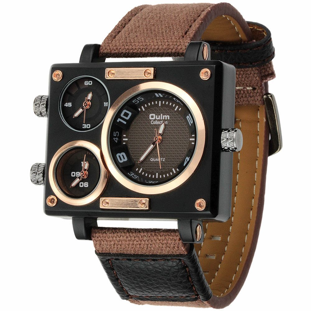 Luxury Quartz Watch Brand Rectangle Men Quartz Dress Fashion Watch Oulm 3595 Three Time Zone Canvas Strap Relogio <font><b>Masculino</b></font>