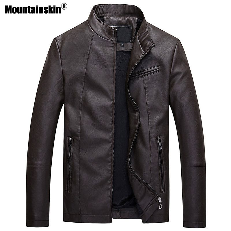Mountainskin Mens Leather Jackets Autumn Winter Thick Coats Men Velvet Faux Biker Motorcycle Jacket Warm Male Outerwear SA592