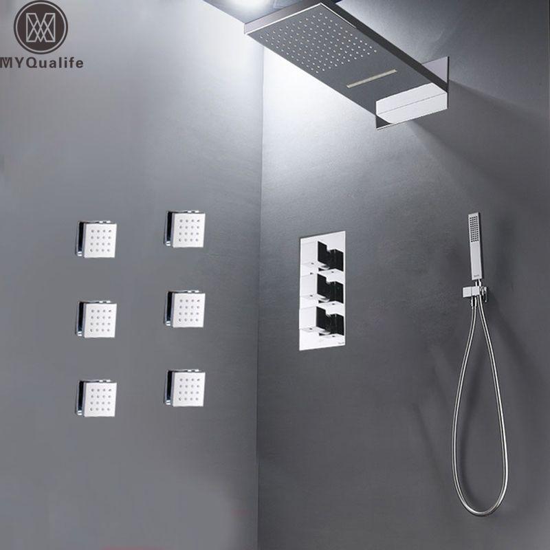 Modernes Bad Regen Wasserfall Dusche Set Thermostat-ventil 4-wege Bad Dusche Mischbatterie Messing Körper SPA Massage Jets