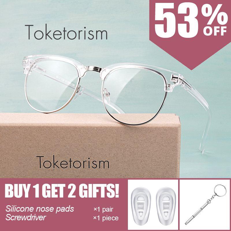 Toketorism Personnalisé créateur de mode transparent cadre lunettes pour homme et femme