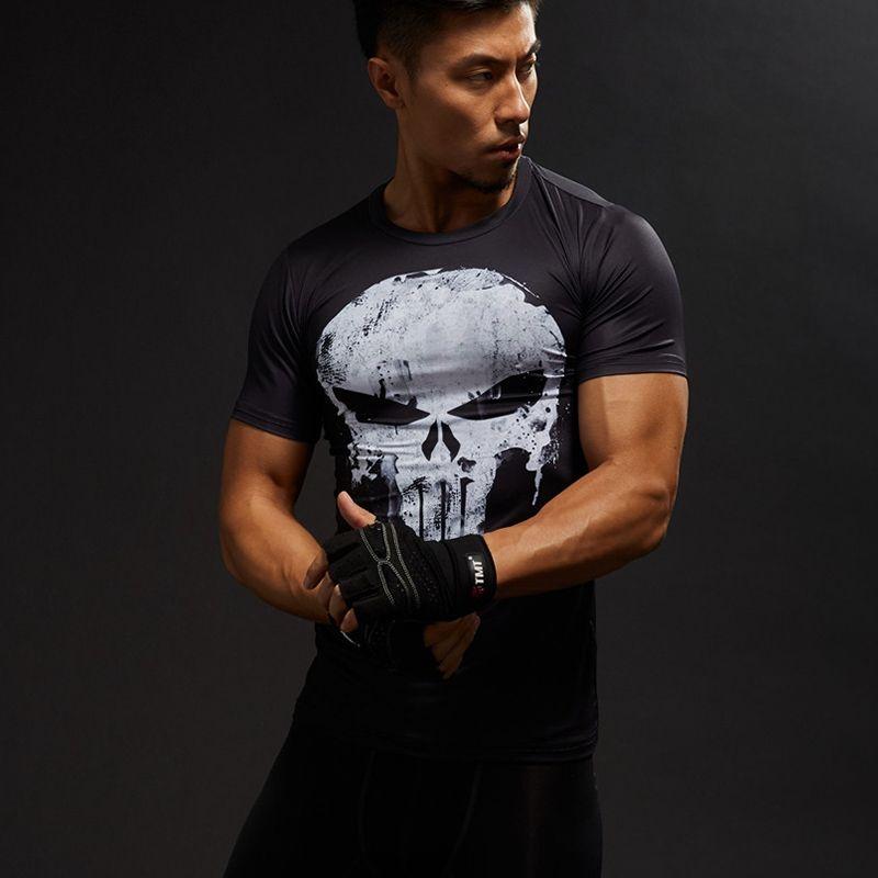 T Shirt homme manches courtes 3D T-Shirt homme Tee hauts Captain America Superman T-Shirt hommes Fitness Compression chemise punisseur MMA