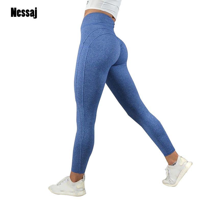 Nessaj Fashion Fitness Leggings Women High Waist Workout Leggins Casual Women Pants Mujer Solid Patchwork Leggings