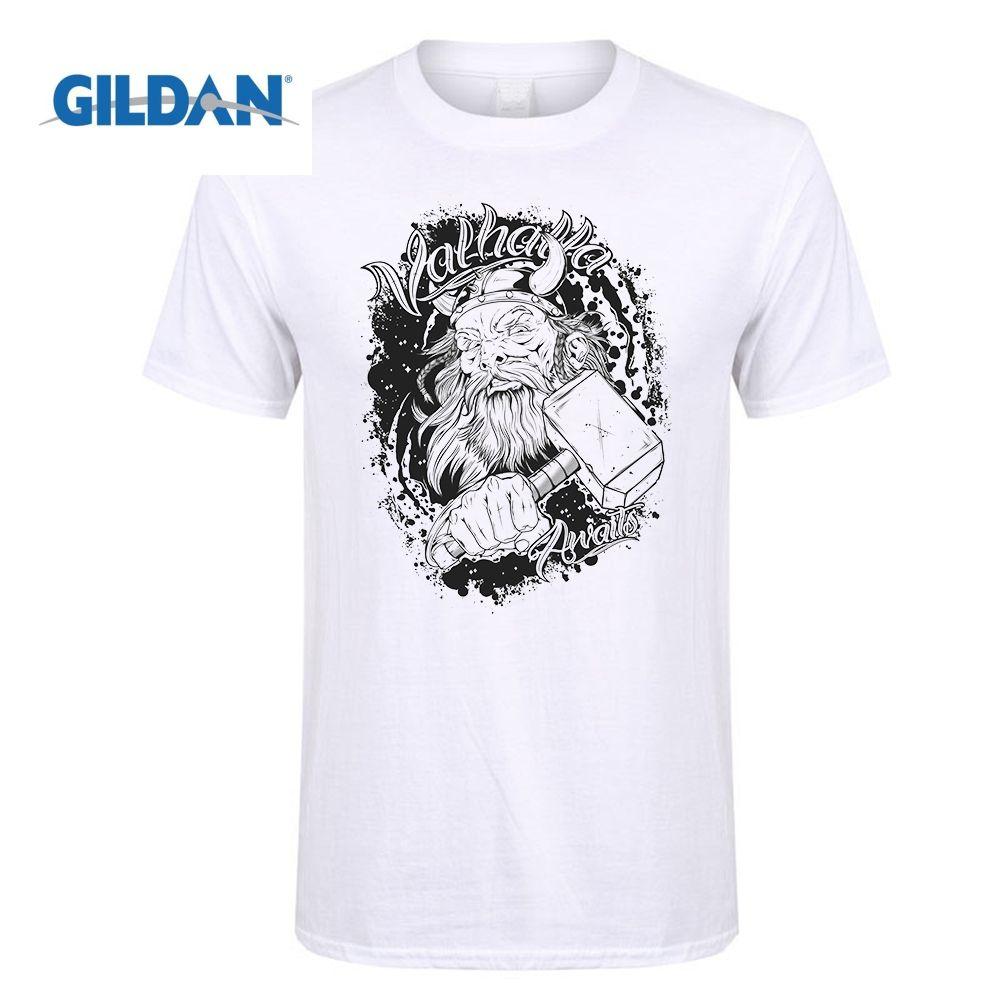 GILDAN Tops Hipster Viking Berserker Valhalla Odin Erwartet herren Crewneck Kurzarm T-shirt Designer Teenager Neck T-Shirts