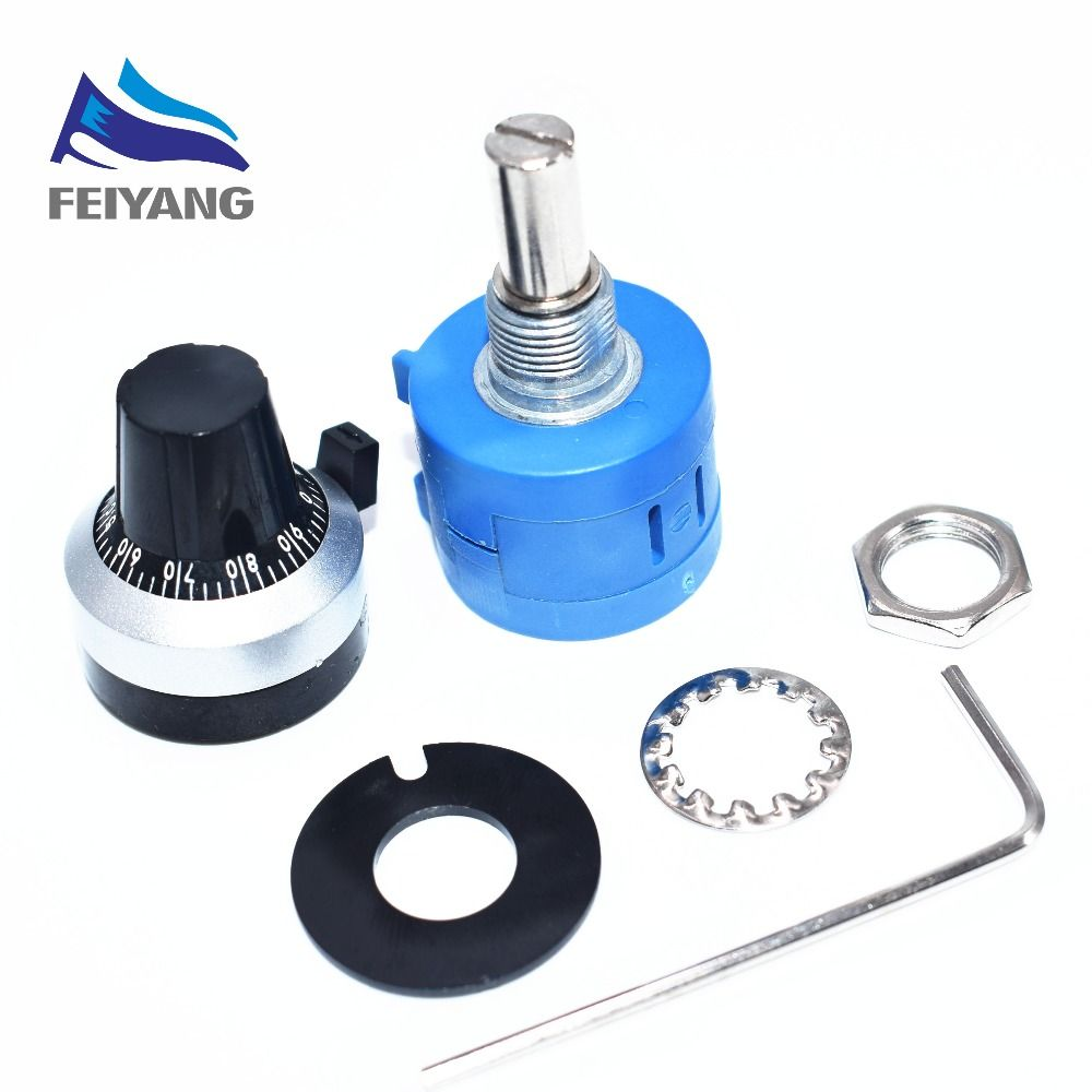 1PCS 3590S-2-103L 3590S 10K ohm Precision Multiturn Potentiometer 10 Ring Adjustable Resistor + Turns Counting Dial Rotary Knob