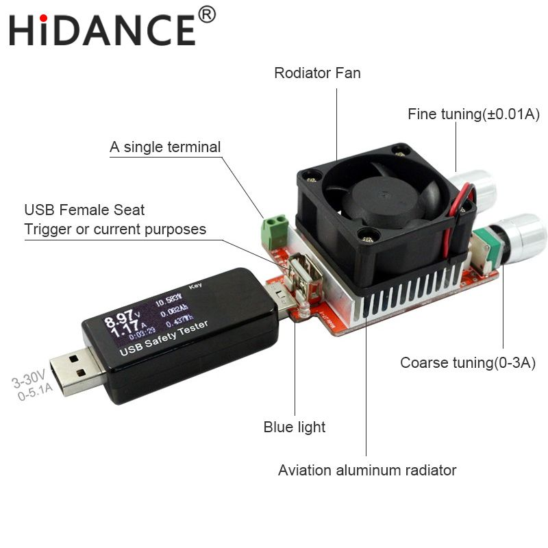 35W constant current double adjustable electronic load + USB tester for charger power bank current dc voltage <font><b>capacity</b></font> aging