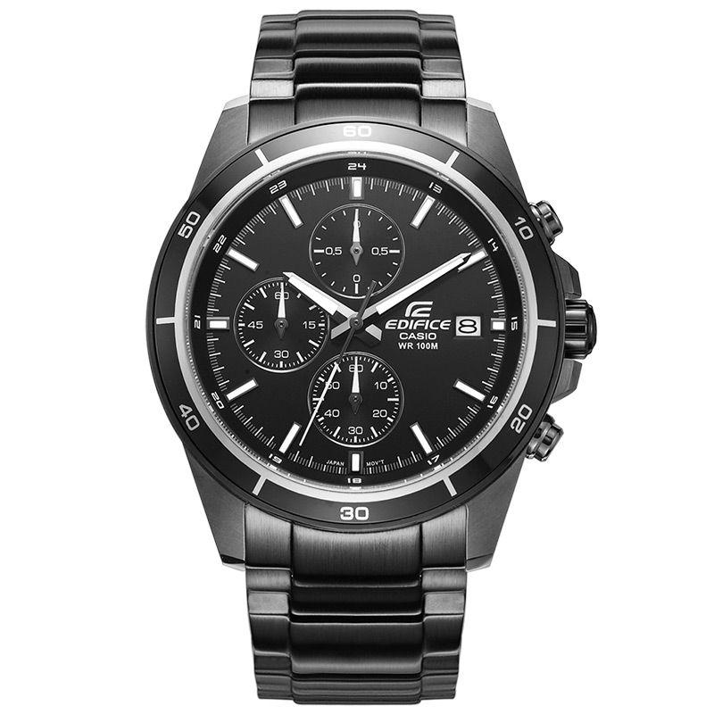 Casio watches EDIFICE series 2018 new fashion sports 10BAR waterproof quartz steel belt men's watch black steel belt EFR-526BK
