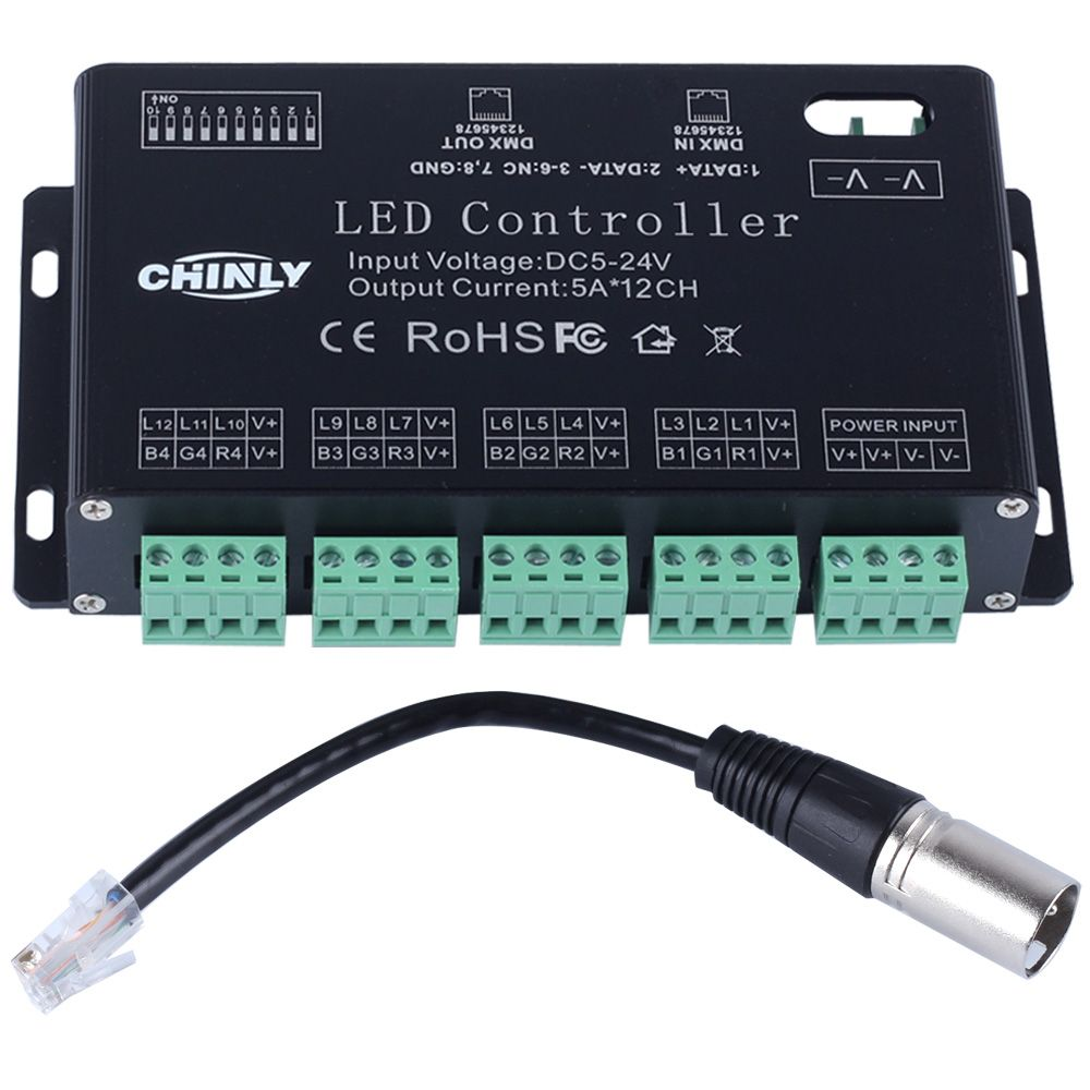 DC5V-24V 12 Channels DMX 512 RGB LED Strip Controller DMX Decoder Dimmer Driver Use for LED Strip Module