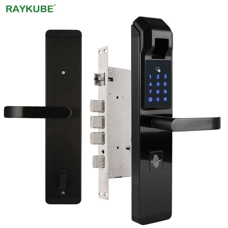 RAYKUBE Biometric Fingerprint Door Lock Intelligent Electronic Lock Fingerprint Verification With Password & RFID Unlock R-FZ3