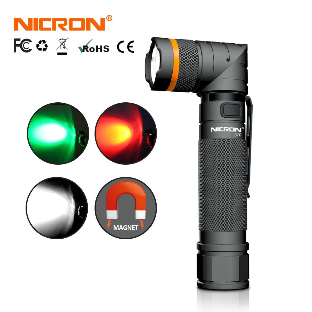 NICRON Magnet 90 Degree Rechargeable LED Flashlight Handfree Ultra High Brightness Waterproof Camo Corner LED Torch B70 / B70-P
