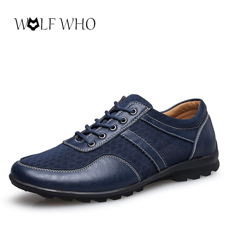 Wolf who plus size 37-47 Men Shoes Men Genuine Leather Shoes Summer Breathable Lace up Flats Light Male Footwear Dropshipping