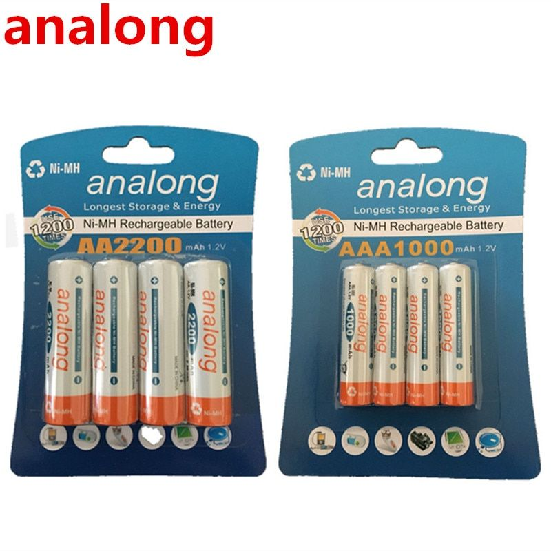 Analong 1.2 V 2200 mAh Piles AA + 1.2 V 1000 mAh AAA Batteries NI-MH AA/AAA Rechargeable Batterie