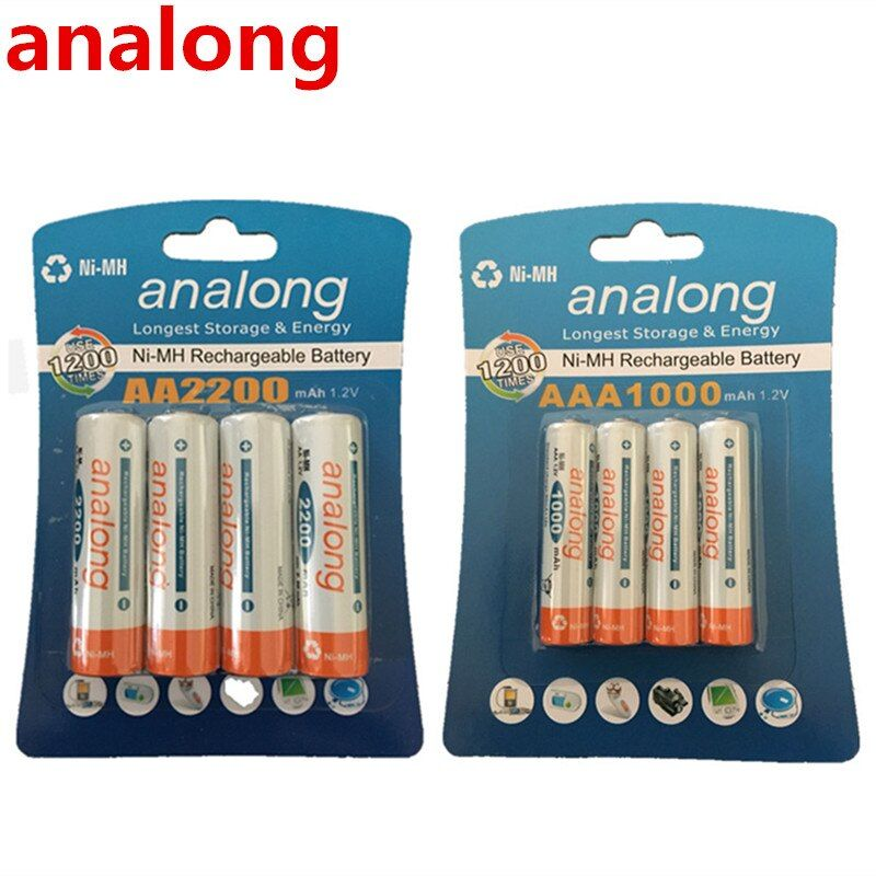 Piles analong 1.2 V 2200 mAh AA + piles 1.2 V 1000 mAh AAA batterie Rechargeable NI-MH AA/AAA