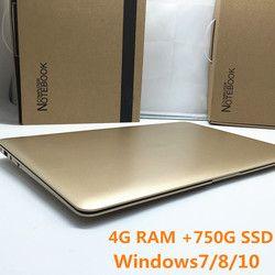 1920X1080 P FHD Écran 4 GB RAM 750G HDD Windows7/8/10 Ultra-Mince Quad Core Course rapide Ordinateur Portable Netbook Ordinateur Portable