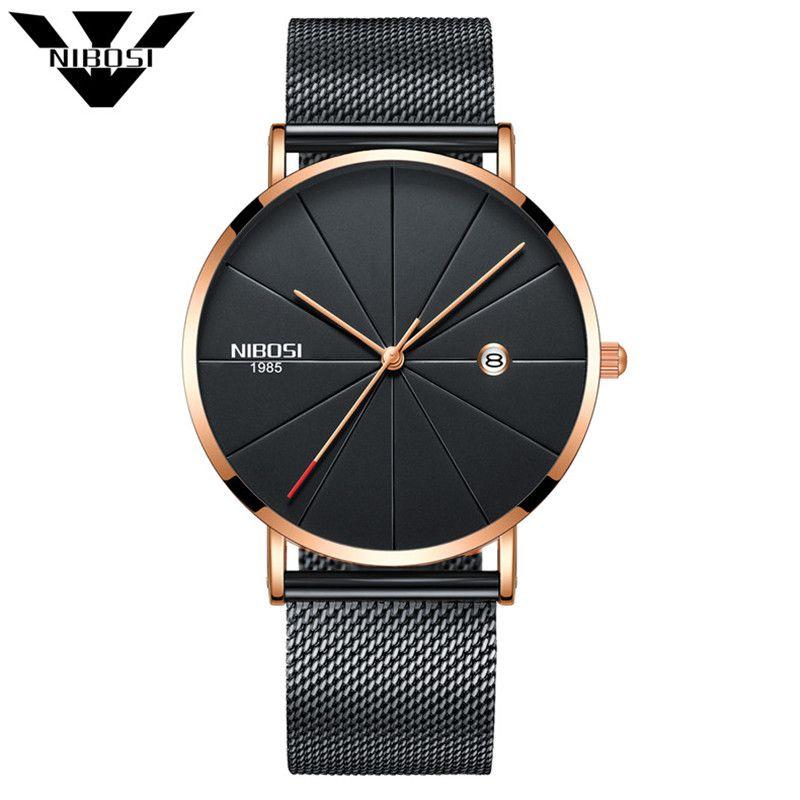 NIBOSI Quartz Watches Men and Women Watch Luxury Famous Top Brand Fashion Watch Quartz Wristwatches Slim With Milanese Ban