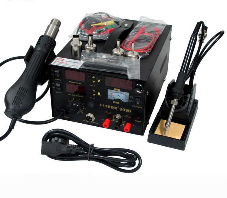 3 in 1 Hot Air Gun Rework Station 909D + Soldering Station Power Supply 15v2a Soldering Machine