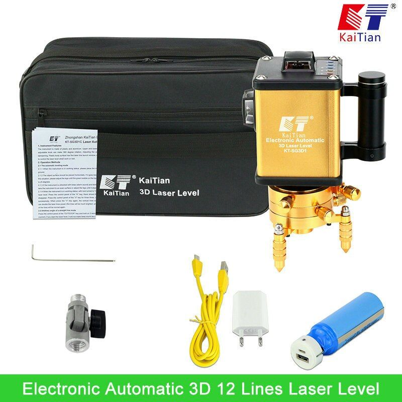 KaiTian Green Laser Level 3D 12 Lines with Battery Rotary/Tilt Function/Outdoor Automatic Electronic Vertical Horizontal Laser