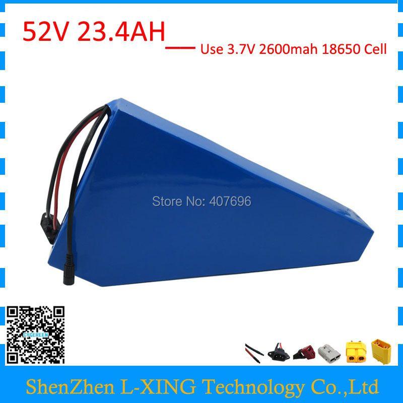 Freies gewohnheiten duty 52 V 23AH ebike batterie 51,8 V 23.4AH lithium-Dreieck batterie verwenden 2600 mah 18650 zelle 30A BMS mit 2A Ladegerät