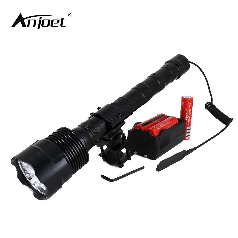 ANJOET LED lampe de poche tactique 18650 lanterne de chasse 6000Lm XML 3xT6 lumière 5 Mode torche + batterie + chargeur + commutateur à distance + monture de pistolet