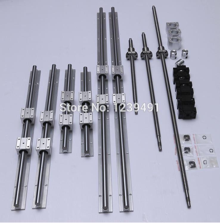 RU delivery 6set linear guide Rail SBR16- 400/600/1000mm + SFU1605- 450/650/1050mm ballscrew + BK/BF12 + Nut housing CNC parts