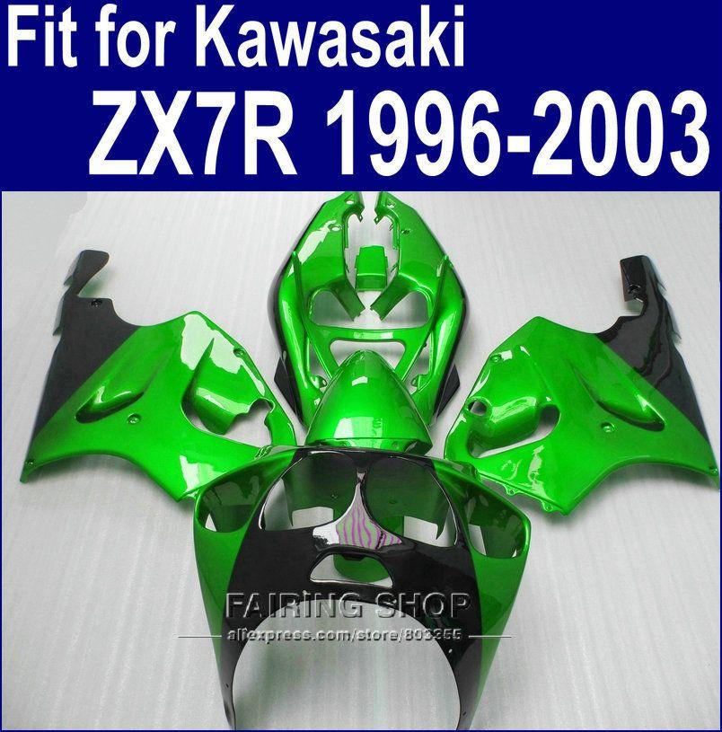 Metallic green  Fairings For Kawasaki ninja ZX7R 1996 1999 1998 2001 2002 2003 ( Customize free ) 96 03 new fairing kit a57