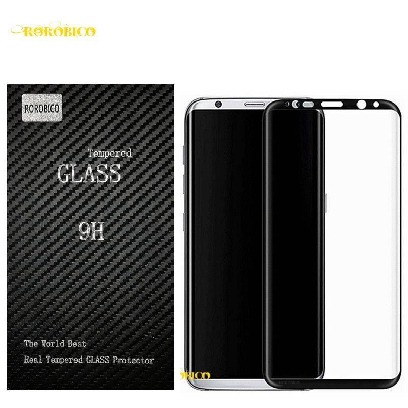 ROROBICO 3D Curved Tempered Glass Curved Full Coverage Mobile Tempered Glass Screen Protector For Samsung Galaxy S8 G9500