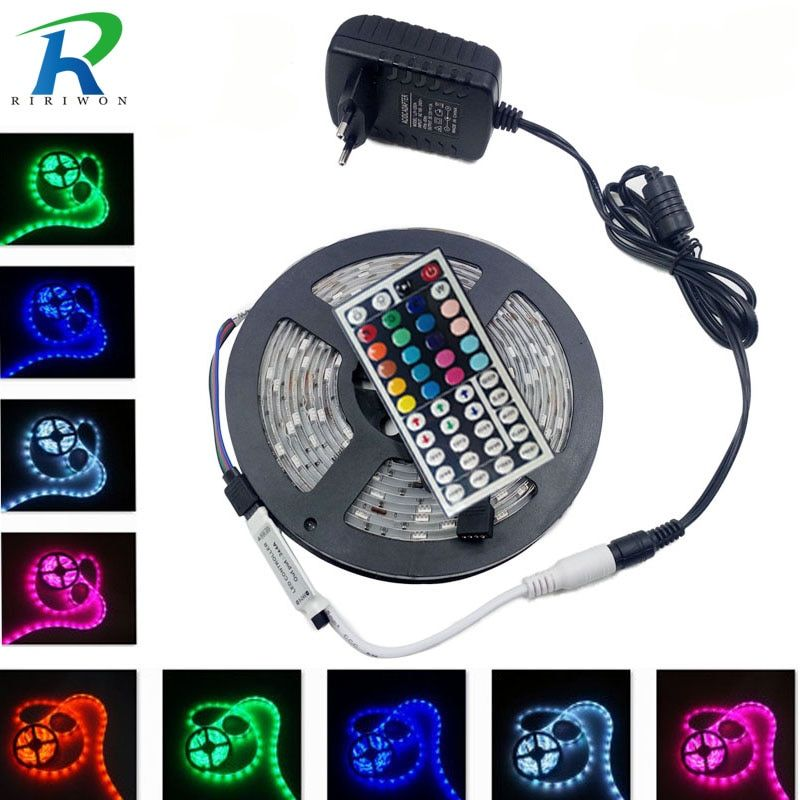 RiRi won RGB 5050 SMD Led Strip Light Flexible fita de 4M 5M 10M 15M led RGB Tape Diode feed tiras Ribbon AC Power DC 12V Set