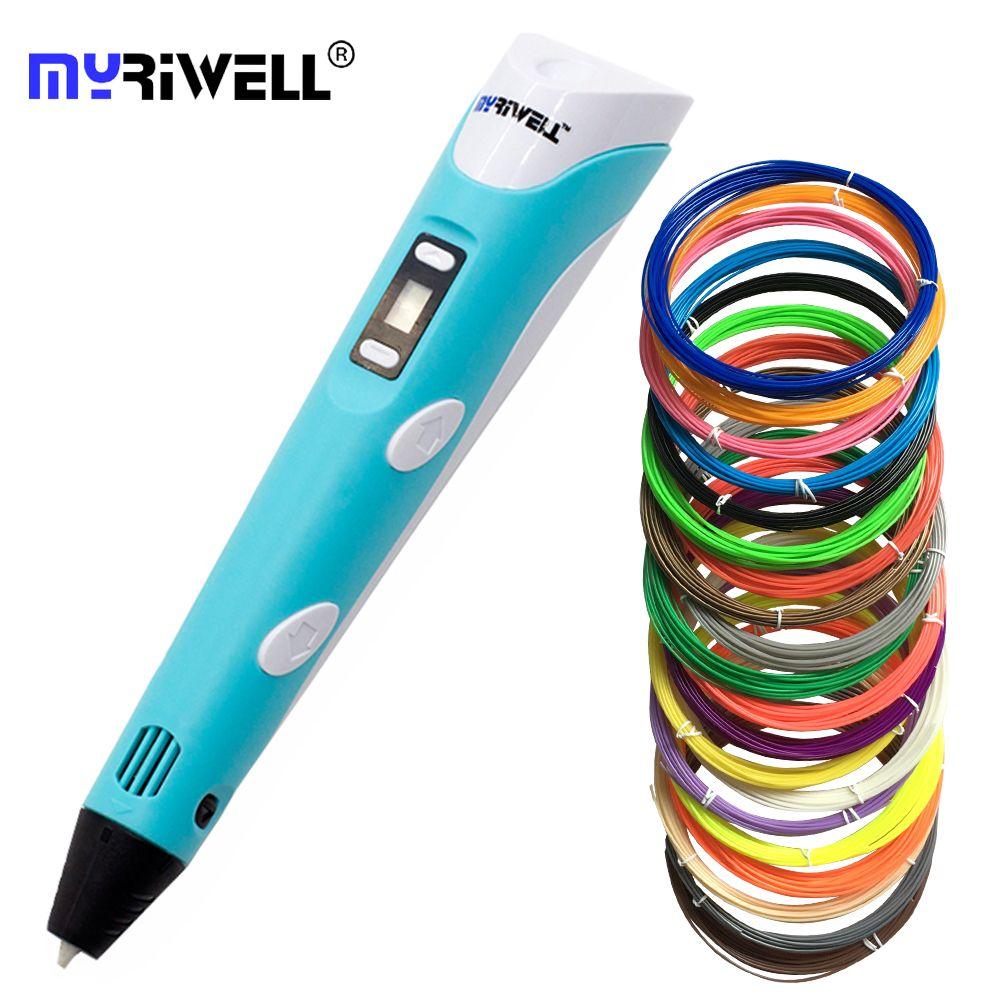 3d ручки myriwell 2nd поколения rp-100b LED Дисплей DIY 3D-принтеры ручка с 3 вида цветов 9 м ABS искусств 3d ручки для детский рисунок Инструменты