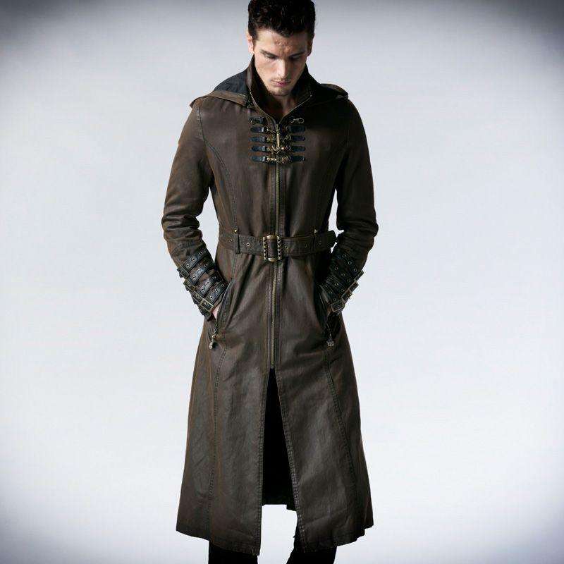 Punk Vintage Man Coffee Dark Twill Hooded Long Coat Steampunk Autumn Winter Belt Coats Casual Faux Leather Jackets Overcoats