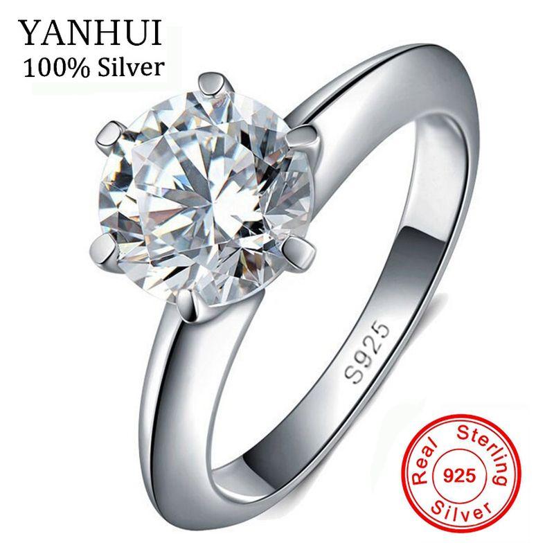 Большой 95% скидка! 100% оригинальный твердый 925 Серебряные кольца натуральный 1.5ct Solitaire кубического циркония свадебные украшения Кольца для Дл...