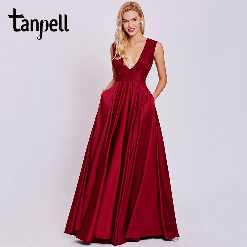 Tanpell sexy cuello en v vestido de noche rojo óxido sin mangas piso de longitud una línea de vestido barato mujeres prom de encaje vestidos largos de noche formales