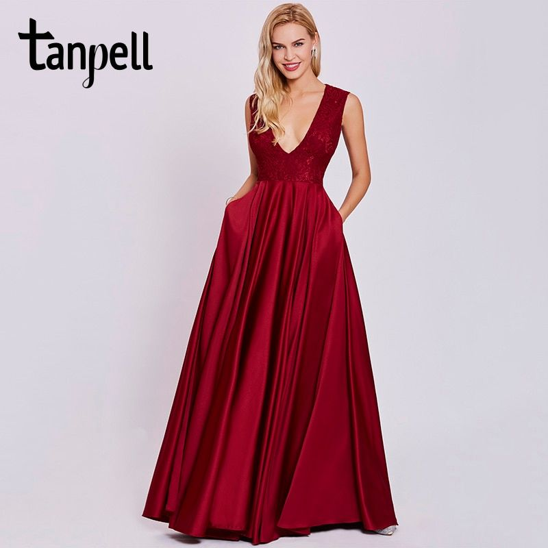 Tanpell sexy v neck evening dress rust red sleeveless floor length a line gown cheap women prom lace long formal evening dresses
